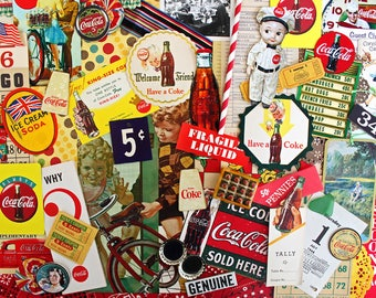 The Real Thing*Coke Cola Ephemera Paper Pack*Vintage Coke Advertising Pieces*Retro Inspiration Kit*Junk Journals Scrapbooks Collages