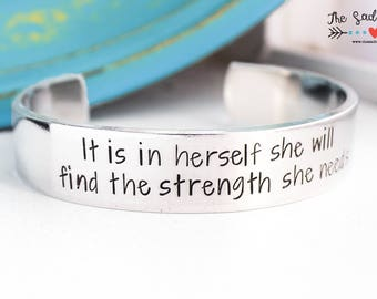 It Is In Herself She Will Find The Strength She Needs Cuff Bracelet   Strength Jewelry   Inspirational Jewelry   Motivational Jewelry