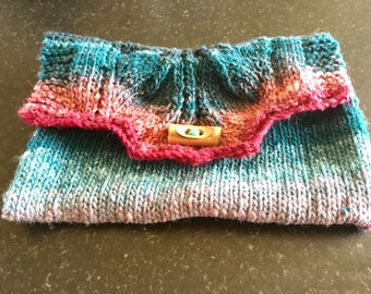 Oaak designer unique Noro hand knitted clutch purse bag, hippie, wooden button