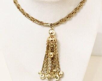 CORO Necklace, Gold Tone Tassel 2 Strand  Signed Evening Wear Costume Jewelry