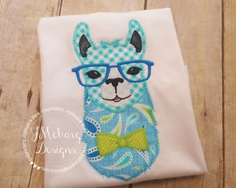 Boy Llama with Glasses Custom Embroidered Tee Shirt - Customizable 15 baby gift