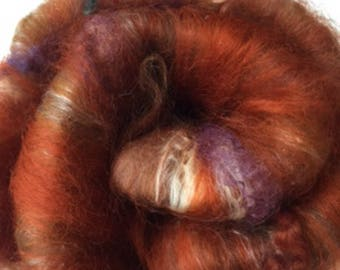 Carded Fibre Batt for Spinning and Felting/Art Batt/Spinning Browns Mix with Wool Locks