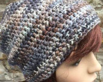 Crochet Hand Spun Shetland Wool Hat in Greys with Pink and Blue