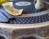 "Round tablecloth French oilcloth.Stain resistant and waterproof fabric.70"" diameter.Bastide navy blue or ""Lavender""."