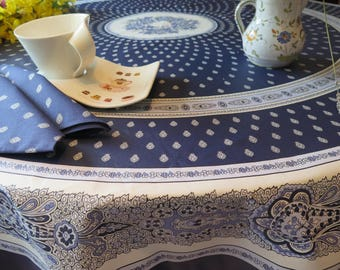 "Round tablecloth French oilcloth.70"" diameter.CHOOSE THE COLOR.Bastide Marine or Lavande"