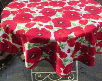 "Round cotton tablecloth.44"" diameter. Red poppies in white background"