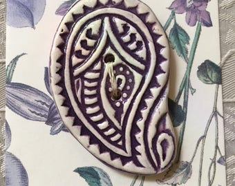 Handmade Ceramic Button Purple Paisley Design
