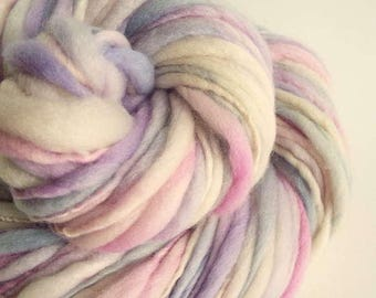 Thick and Thin knitting yarn, chunky merino knitting wool, ivory, pinks and lilac, big knitting wool