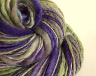 Purple and green thick and thin, handspun knitting yarn, handpainted chunky yarn, blue faced leicester fibre