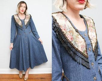 Floral Beaded Fringe Denim Dress // 80s 90s Jean Button Down Boho Maxi Dress // Western Sequin Full Length Size Small Medium