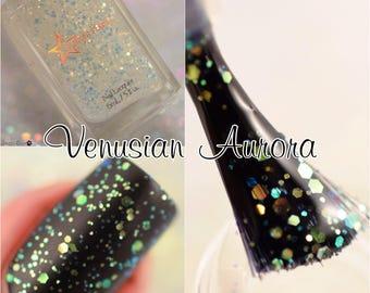 Venusian Aurora Iridescent Color Shifting Glitter Effect Top Coat Nail Lacquer Starlight and Sparkles Polish