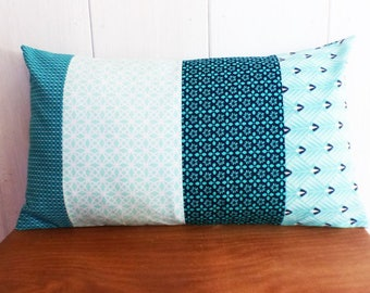 Cushion patchwork fabric variation of blue / green