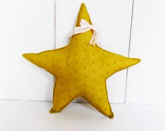 Pink star fabric satin mustard and bow