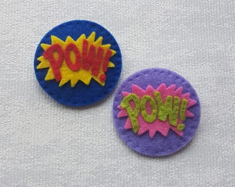 POW ! Pin Badge Kit, make your own gift, superhero, gift, geekery, diy kit, comic books, die cut felt, cartoon, brooches, xmas gift ideas