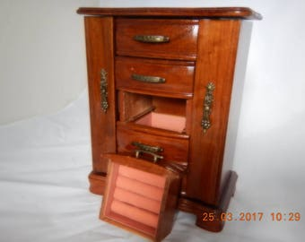 Vintage Wooden Jewelry Box, With Rose Velvet Lining, Two Doors For Hanging Necklaces