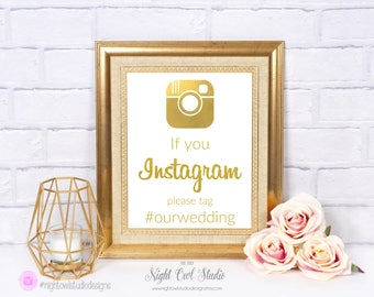 Wedding Instagram Sign, Weding Hashtag Sign, Hashtag Sign, Social Media Sign, Faux Gold Foil, Personalized, Printable