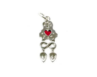 Sterling Silver Enamelled Large Welsh Loving Spoon Charm For Bracelets