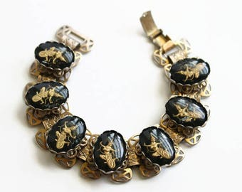 Vintage Mid Century Siam Goddess Bracelet, Siam Jewelry, Filigree Links, Black and Gold, Circa 1950's