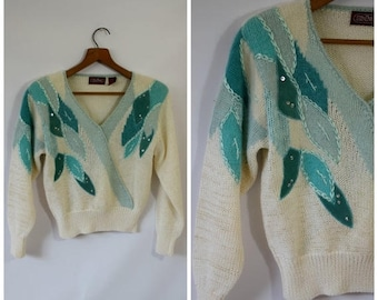 Sale Vintage Sweater / Teal Leaf Sweater / 1980's Sweater / Womens Sweater / Cropped Sweater / Ginene Sweater S/M