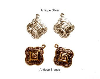 2 Moroccan Style Antique Silver Or Antique Bronze Charms - 21 53-12