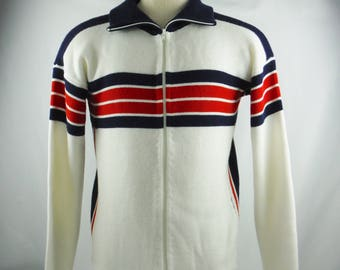 Vintage 80's Men's Woodward & Lothrop Red White And Blue Zipper Front Sweater