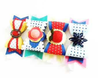 Pack of 4 M2M Made to Match Matilda Jane July Release Back to School Make Believe Back to School Felt Bow Headband or Clip Set