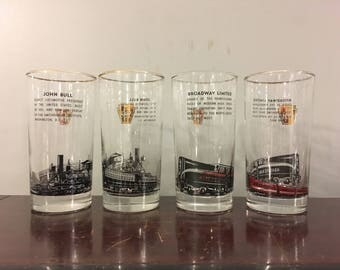 Broadway Limited Rare Vintage Mid-Century 1960s Pennsylvania Railroad Promotional Highball Cocktail Glasses New York City Locomotive Design