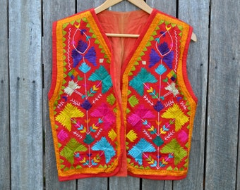 Amazing rainbow vest unisex vintage hand embroidered psychedelic 70's hippie India style mens bright boho red cotton silk hand stitched
