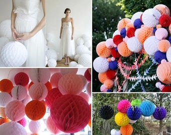 10pcs/lot 20cm (8 inch) Tissue Paper Flower ball Honeycomb Lantern Wedding decoration Holiday supplies for Party