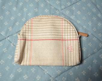 Ralph Lauren Small Zippered Bag in a Tan Houndstooth Check