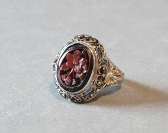 Antique Cinnabar Ring w Enamel Flowers Carved Red Laquer Chinese Import Signed SILVER Size 6 Asian Jewelry