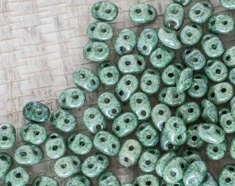 Ceramic Laurel Green Czech Mini Duo 2 hole Beads, 2x4mm Oval Seed Beads - 10 grams - Ceramic Laurel Green Miniduo Beads, 4968