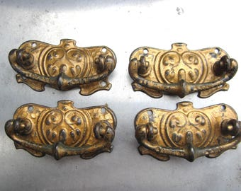 drawer pulls Edwardian 1910s gold paint set of four