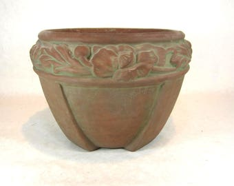 Peters and Reed art pottery jardiniere signed Ferrell moss aztec matt green 1910s arts and crafts Mission bungalow home