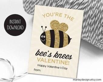Bees Knees Valentines Cards Printable Kids Valentines Classroom Valentines Gold Glitter Bee Valentines Bee Mine Valentine Cards Printable