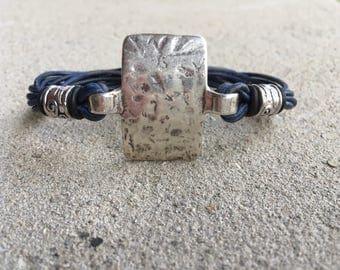 Multistrand Distressed Navy Blue Leather Bracelet Hammered Antique Silver Rectangule Pendant Aztec Sliders Black Rubber Bands Magnetic Clasp