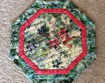 Octagon Table Centerpiece, Floral Batik Table Centerpiece, Octagon Wall Hanging, Pinks, Greens, Purples, Cream, House Warming Gift,