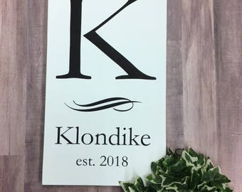 Vertical Initial Family Name Wood Sign