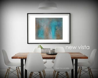Original Modern Abstract Art Painting Textured Canvas Board Wall Hanging Earth Turquoise Brown Blue NEW VISTA Affordable Decorative Prints
