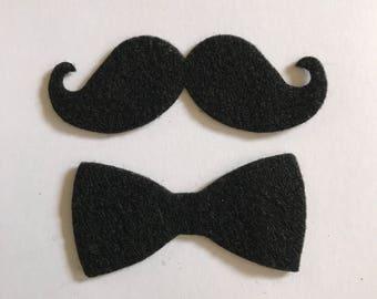 "25 Die cut Felt  Mustache, 3"" x 1"" and 25 Bow tie 2.5"" x 1.25""  Party, Craft supplies"