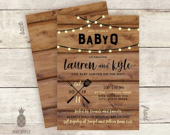 Rustic Baby-Q Couples Shower Invitations