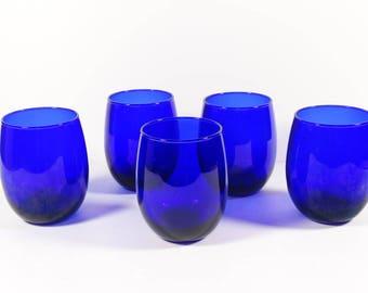 Cobalt Blue Glasses - Set of 5 Juice Glasses Rocks Glasses - Vintage Barware - Rounded Bottom Glasses Dark Blue Deep Blue