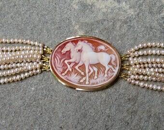 Cameo Jewelry, Horse Jewelry, Horse Bracelet, Cameo Brooch, Cameo Bracelet, Pearl Bracelet, Peach Pearls, Pearl Jewelry, Repurposed Jewelry