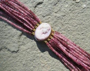 Tourmaline Bracelet,Tourmaline Jewelry,Angel Skin Coral Cameo Brooch,Cameo Jewelry,Cameo Bracelet,Repurposed Jewelry,Vintage Cameo Bracelet