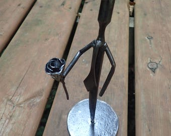 Small Metal Man Sculpture. ''The Suitor''.  Forged by Blacksmith.