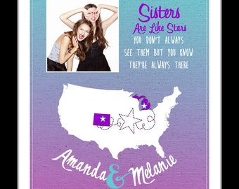 Gifts for sister, birthday gift ideas, sister in law, new address out of state, step sister, turquoise, bright, sister quotes