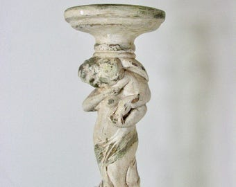 Neoclassical Large Vintage Chalk ware Candlestick of Venus and Cherubs  /  20 inches Tall