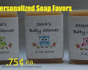 Owl Baby Shower Favor - Baby Shower Favors - Owl Party Favor - 1 oz. handmade mini soap Favors.