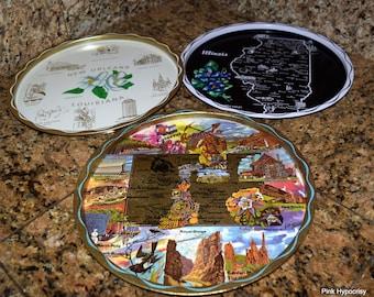 1 Dollar Shipping! Set of 3 metal souvenir states trays Illinois, Louisiana, Utah