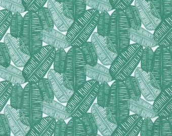 Green Leaf Fabric Falling Leaves by Amy Reber for Free Spirit Fabric Posy Collection Green Fabric Modern Leaf Fabric Green Palm Leaf